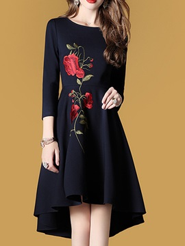 Black Round Neck Long Sleeve Women's Knee Length Day Dress