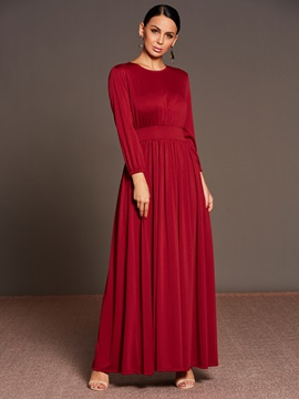 Solid Color Long Sleeve Pleated Women's Maxi Dress