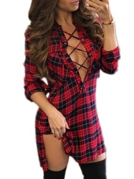 V-Neck Lace-Up Plaid Women's Bodycon Dress