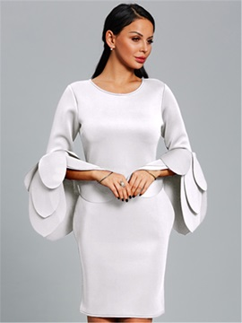 Stylish Layers Flare Sleeve Plain Women's Bodycon Dress