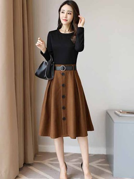 Contrast Color Double-Layer Long Sleeve Women's Skater Dress