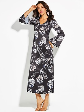 Floral Print V-Neck Flare Sleeve Women's Maxi Dress