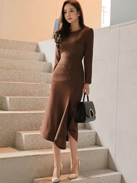 Asymmetric Long Sleeve Plain Women's Maxi Dress