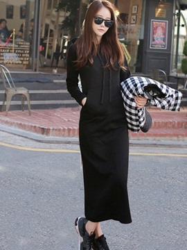 Hooded Plain Long Sleeve Pocket Women's Maxi Dress