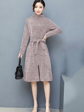 Stand Collar Long Sleeve Lace-Up Women's Sweater Dress