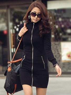 Plain Stand Collar Long Sleeve Women's Bodycon Dress