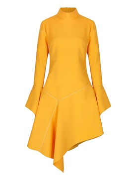 Asym Flare Sleeve Stand Collar Women's Skater Dress