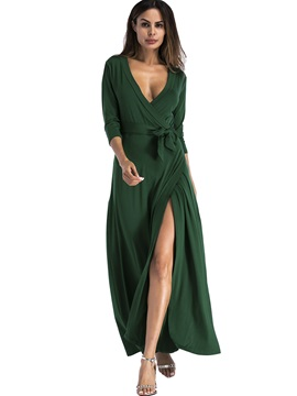 V-Neck Lace-Up 3/4 Sleeve Women's Maxi Dress