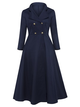 Notched Lapel Double-Breasted Women's Skater Dress