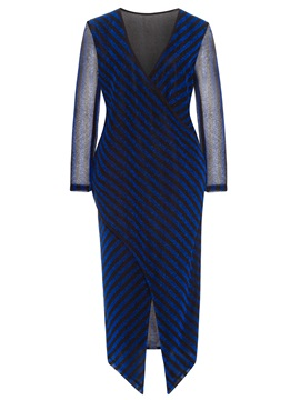 V-Neck Asym Lurex Long Sleeve Plus Size Women's Maxi Dress