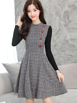 Plaid Nine Points Sleeve Patchwork Button Women's Skater Dress