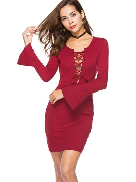 Lace-Up Flare Sleeve Women's Bodycon Dress