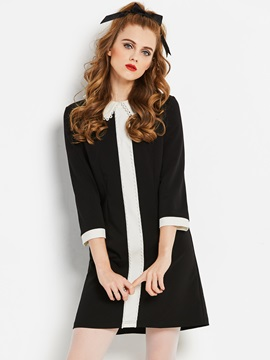 Color Block Lapel Nine Points Sleeve Women's Skater Dress