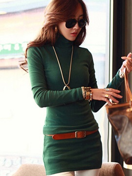 Tidebuy Turtleneck Plain Long Sleeve Women's Bodycon Dress