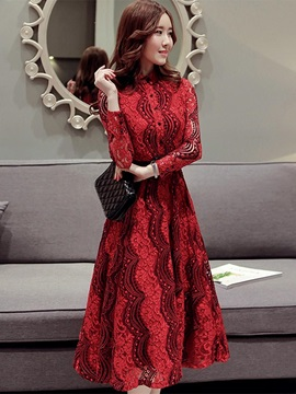 Stand Collar Long Sleeve Women's Lace Skater Dress