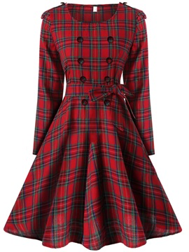 Vintage Plaid Long Sleeve Lace-Up Women's Skater Dress
