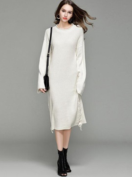 Solid Color Long Sleeve Lace-Up Women's Sweater Dress