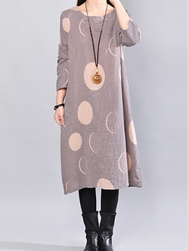 Geometric Print Long Sleeve Women's Casual Dress