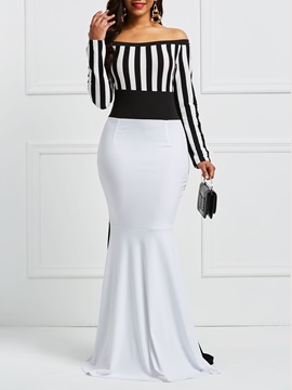Color Block Stripe Bateau Mermaid Women's Maxi Dress