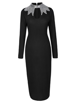 Bodycon Stand Collar Women's Long Sleeve Dress