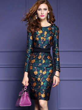 About Knee Bodycon Long Sleeve Dress