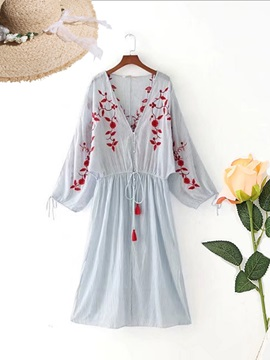 Knee-Length V-neck Embroidery Stripe Women's Day Dress