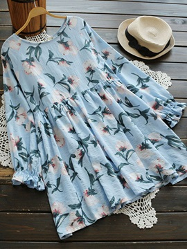 Tidebuy Above Knee Floral Round Neck Women's Long Sleeve Dress