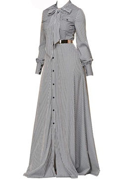 Tidebuy Button Long Sleeve Women's Maxi Dress