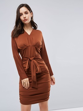 Long Sleeve Belt Wrap Bodycon Dress