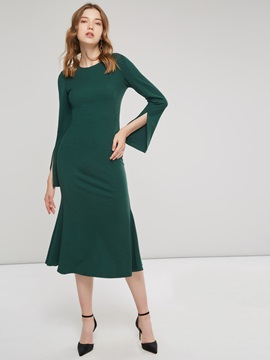 Flare Sleeve Round Neck Sweater Maxi Dress