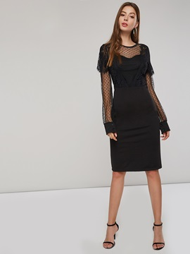 See-Through Long Sleeve Women's Sheath Dress