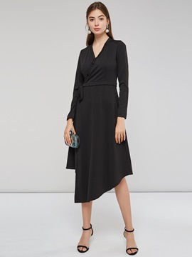 Asymmetric Single-Breasted Plain Women's A-Line Dress