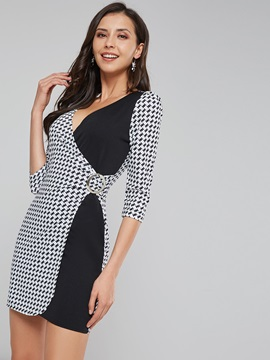 V-Neck Plaid Women's Long Sleeve Dress