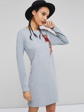 Embroidery Round Neck Women's Long Sleeve Dress