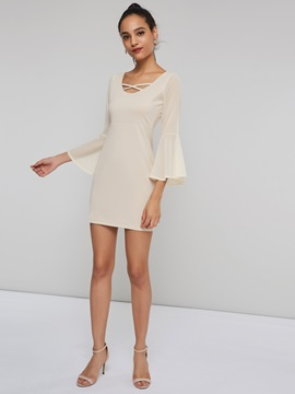 Flare Sleeve Sexy Pullover Women's Casual Dress