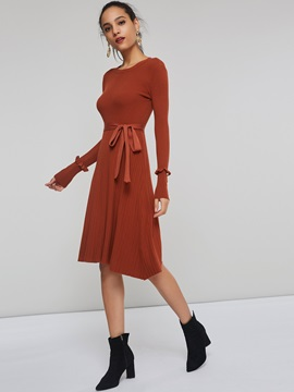 Long Sleeve Bowknot Pleated Women's  Dress
