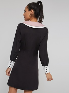 Double-Layer Single-Breasted Women's Long Sleeve Dress