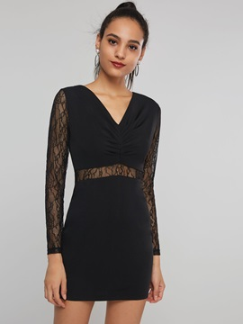 V-Neck Bodycon Hollow Women's Lace Dress