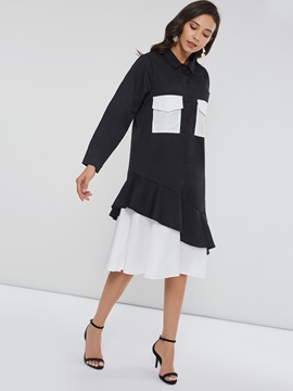 Pocket Women's Long Sleeve Dress