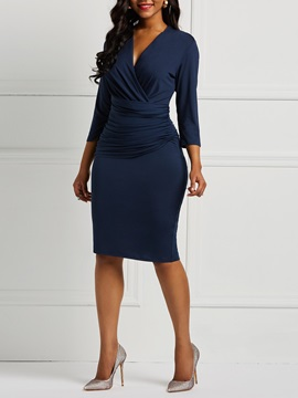 Polyester Pleated V Neck Women's Bodycon Dress