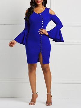 Flare Sleeve Button Hollow V Neck Women's Bodycon Dress
