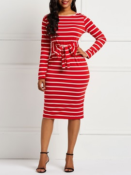 Long Sleeve Stripe Fall Women's Bodycon Dress