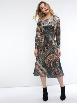 Mid-Calf Print Pullover Casual Women's Casual Dress
