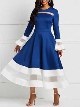 Long Sleeve Flare Sleeve Color Block Women's  Dress
