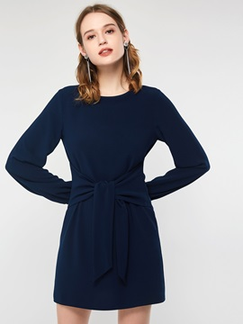 Bowknot Long Sleeve Spring Plain Women's A-Line Dress