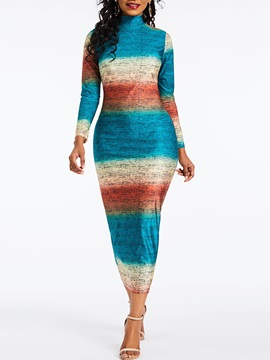 Mid-Calf Long Sleeve Bodycon Color Block High Waist Women's Maxi Dress
