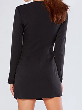 V-Neck Asymmetric Long Sleeve Spring Plain Women's Dress
