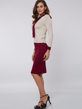 Contrast Color Long Sleeve Bowknot Collar Dress Suits