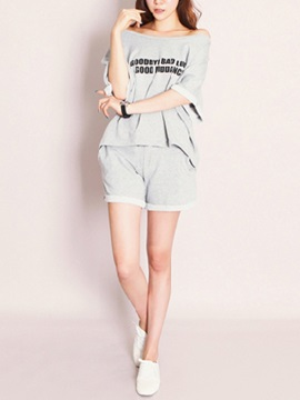Casual Letter Printed Batwing Sleeve T-Shirt & Pure Color Short