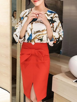Floral Printing Bowknot Placketing Falbala Two-Piece Outfit